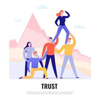 Concept de design plat de travail d'équipe avec des personnes se tenant ensemble et se faisant confiance illustration