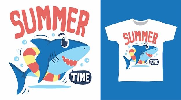 Concept de design de t-shirt d'heure d'été de requin cool