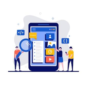 Concept de design ux / ui avec caractère. le programmeur crée un design personnalisé pour une application mobile.