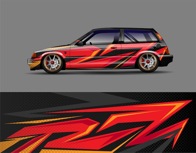 Concept de design de voiture de course wrap decal