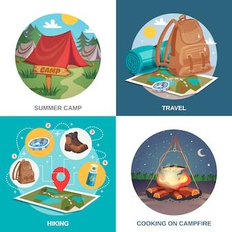 Concept de design de voyage d'été