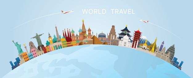 Concept de design de voyage mondial