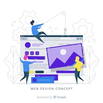 Concept de design web coloré avec design plat