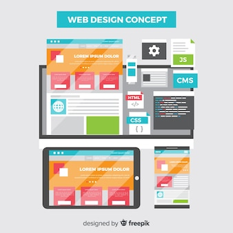 Concept de design web coloré avec design plat
