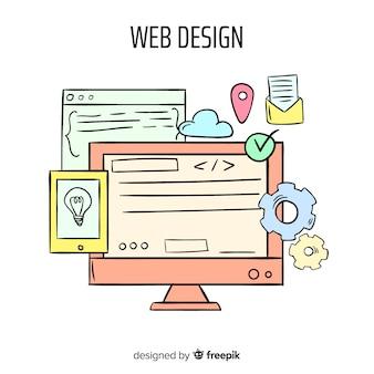 Concept de design web dessiné main moderne