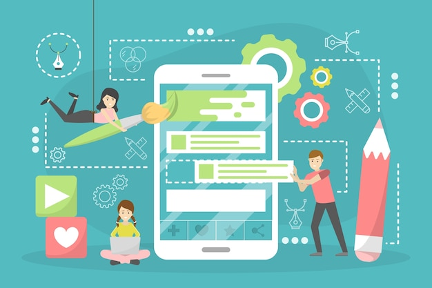 Concept de design web. développement de site web, programmation et réactivité