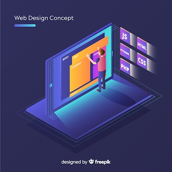 Concept de design web moderne avec vue isométrique