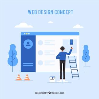 Concept de design web avec style plat