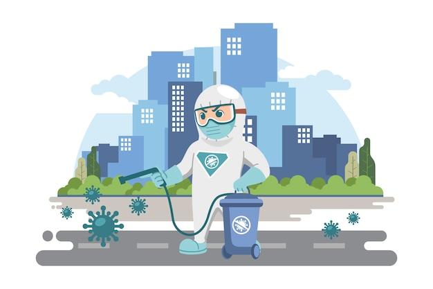 Concept de désinfection virale