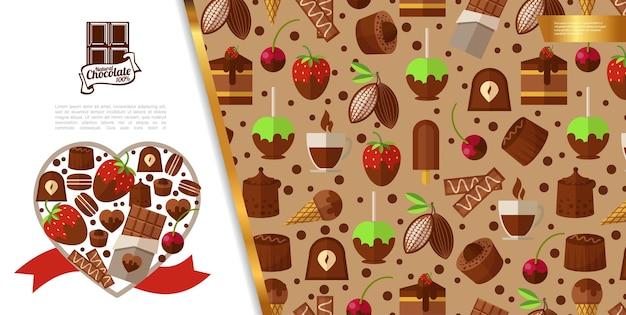 Concept de desserts sucrés plats
