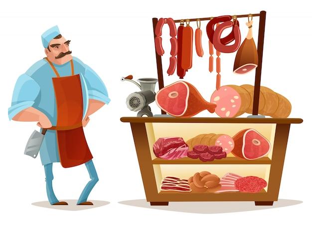 Concept de dessin animé de boucher