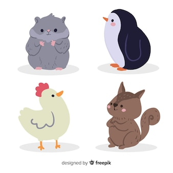 Concept de dessin animé de collection animal mignon