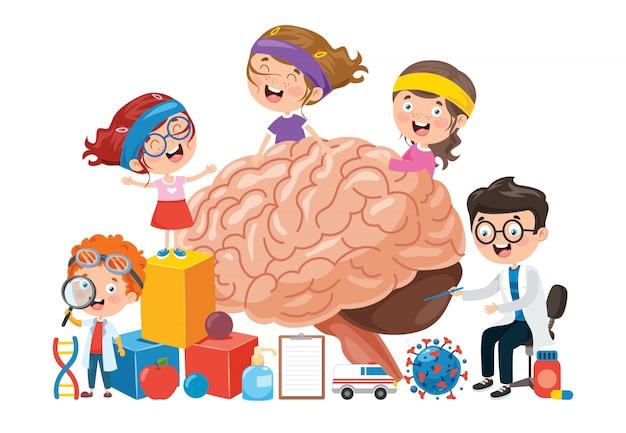 Concept de dessin animé du cerveau humain
