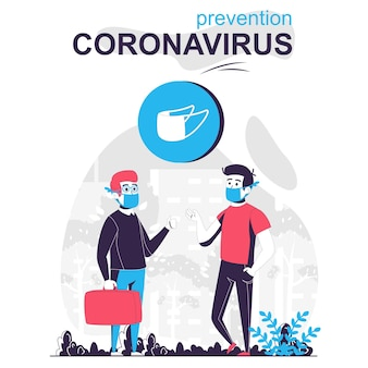 Concept de dessin animé isolé sur le coronavirus de prévention les hommes portant des masques médicaux parlent dans un lieu public