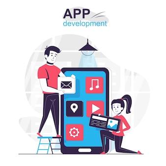 Concept de dessin animé isolé de développement d'applications les développeurs créent une mise en page pour les applications mobiles