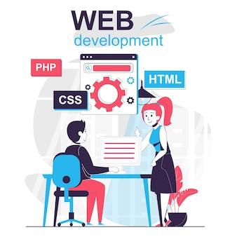 Concept de dessin animé isolé de développement web les développeurs personnalisent et optimisent les pages au bureau