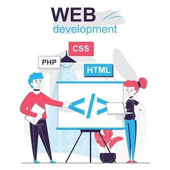 Concept de dessin animé isolé de développement web l'équipe de développeurs crée du code et optimise le site
