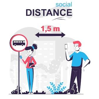 Concept de dessin animé isolé à distance sociale homme et femme se distanciant à l'arrêt de bus coronavirus