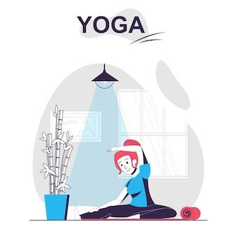 Concept de dessin animé isolé de formation de yoga femme faisant des exercices et pratiquant des asanas au gymnase