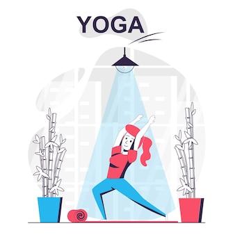 Concept de dessin animé isolé de formation de yoga femme pratiquant l'asana faisant des exercices d'équilibre