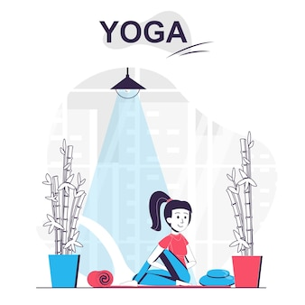 Concept de dessin animé isolé de formation de yoga femme pratiquant des asanas faisant des exercices d'étirement