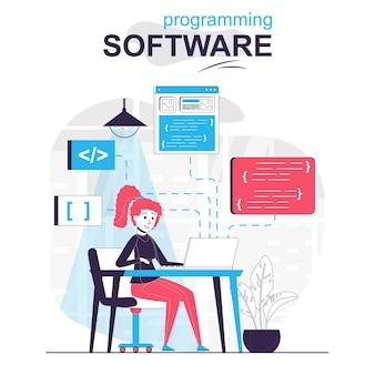 Concept de dessin animé isolé de logiciel de programmation le développeur écrit et optimise le projet de code