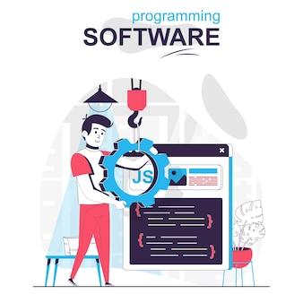 Concept de dessin animé isolé de logiciel de programmation le programmeur configure le programme écrit le code