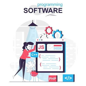 Concept de dessin animé isolé de logiciel de programmation le programmeur travaille sur des programmes de code