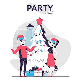 Concept de dessin animé isolé parti l'homme et la femme célèbrent noël à l'arbre de vacances avec des cadeaux