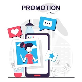 Concept de dessin animé isolé de promotion promotion en ligne de marketing numérique dans les réseaux sociaux