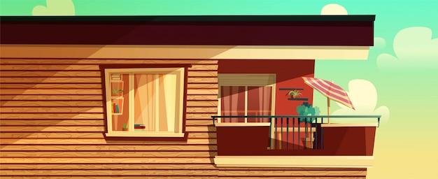 Concept de dessin animé de maison à l'extérieur, appartement à plusieurs étages, balcon sur un bâtiment. illustration.