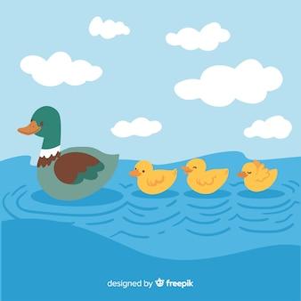 Concept de dessin animé de mère canard et canetons
