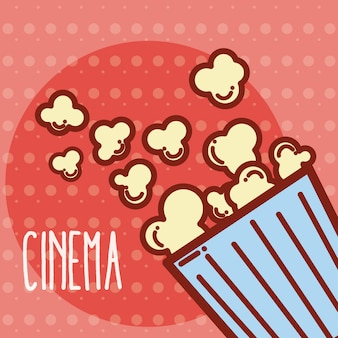 Concept de dessin animé mignon pop corn box cinéma