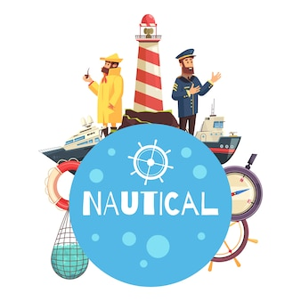 Concept de dessin animé nautique