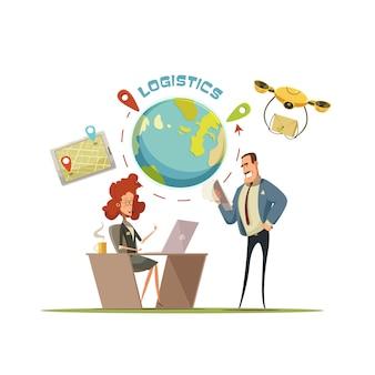 Concept de dessin animé rétro de logistique et de livraison
