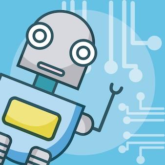 Concept de dessin animé robot intelligence artificielle