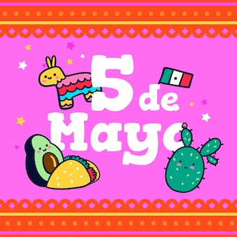 Concept de dessin de cinco de mayo
