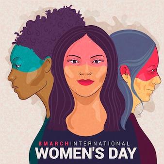Concept de dessin de l'événement de la journée des femmes