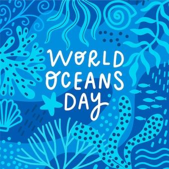 Concept de dessin de la journée mondiale des océans