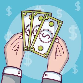 Concept de dessins animés d'investissement et d'épargne de l'argent