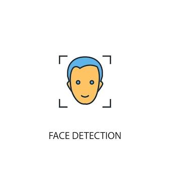 Concept de détection de visage 2 icône de ligne colorée. illustration simple d'élément jaune et bleu. conception de symbole de contour de concept de détection de visage