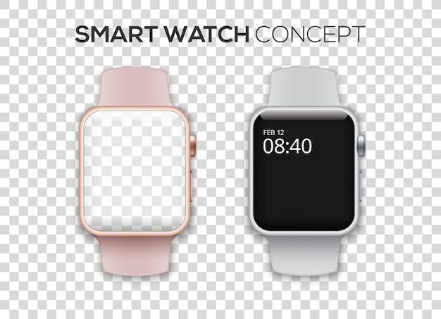 Concept de deux montres intelligentes colorées