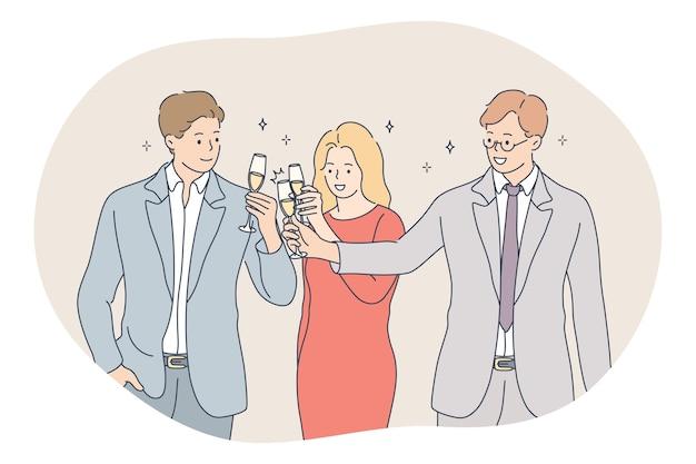 Concept de développement des affaires de travail d'équipe de succès