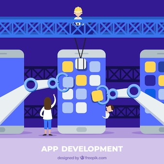 Concept de développement app avec un design plat