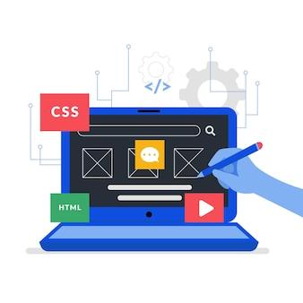 Concept de développement d'applications avec écran d'ordinateur portable illustré