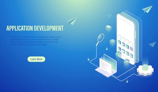Concept de développement d'applications mobiles et de codage de programmes