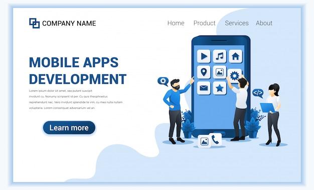 Concept de développement d'applications mobiles avec des personnes qui créent et créent une application en tant que développeur.