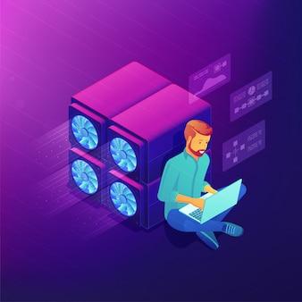 Concept de développement de blockchain isométrique.