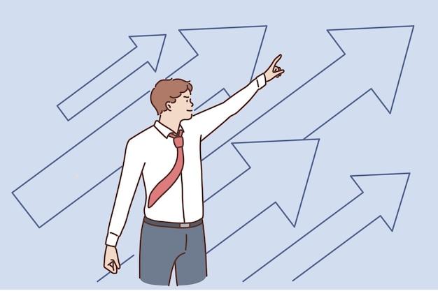 Concept de développement commercial et de réussite. jeune homme d'affaires positif debout pointant vers le haut avec des flèches se sentant confiant avec l'illustration vectorielle de croissance et de développement