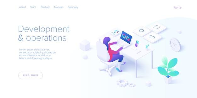 Concept de développement et d'opérations web au design plat
